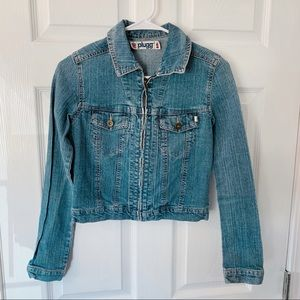 Plugg Jean jacket zip up size small